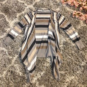 OneA Brown Stripe Open Waterfall Cardigan